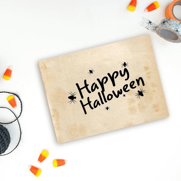 Spiders Happy Halloween Craft Stamp Imprint Example