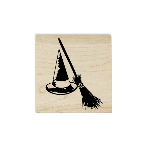Witch's Hat and Broom Craft Stamp Body and Design