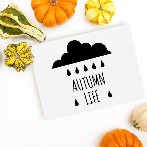 Autumn Life Rain Cloud Craft Stamp Imprint Example