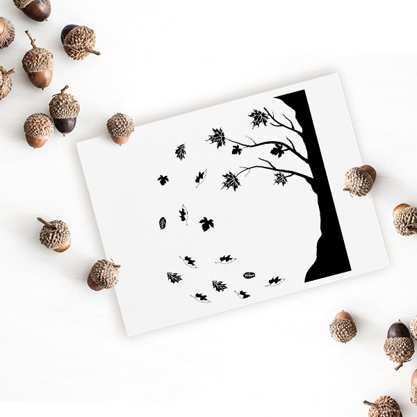 Falling Leaves Craft Stamp Imprint Example