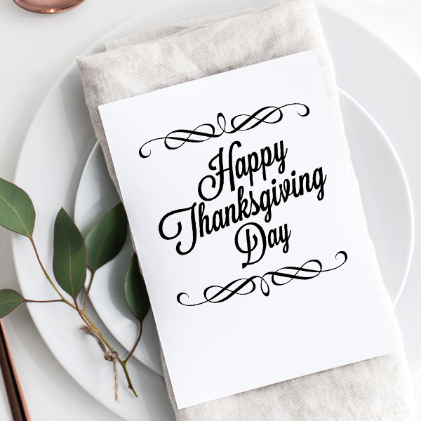 Vintage Happy Thanksgiving Craft Stamp Imprint Example