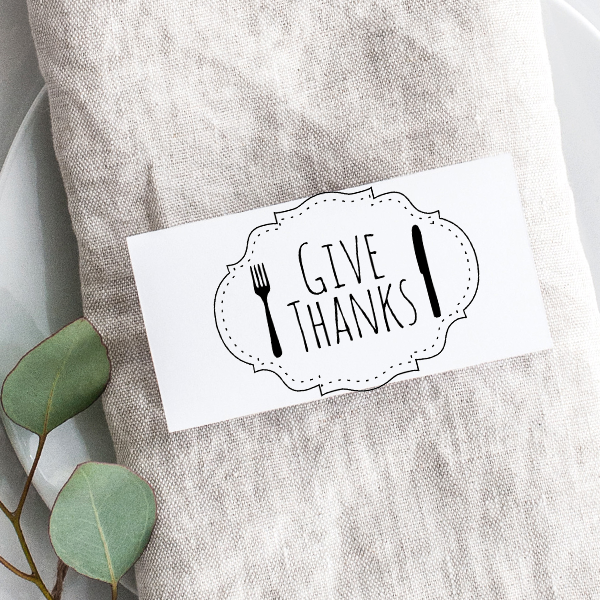Give Thanks Fork and Knife Craft Stamp Imprint Example