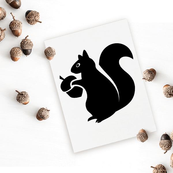 Squirrel with Acorn Craft Stamp Imprint Example