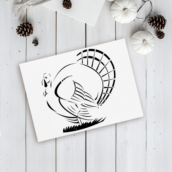 Retro Male Turkey Craft Stamp Imprint Example