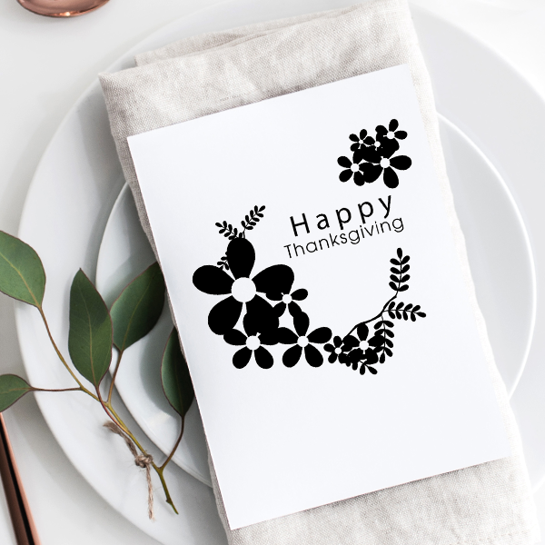 Happy Thanksgiving Daisies Craft Stamp Imprint Example