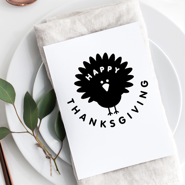 Happy Thanksgiving Turkey Craft Stamp Imprint Example