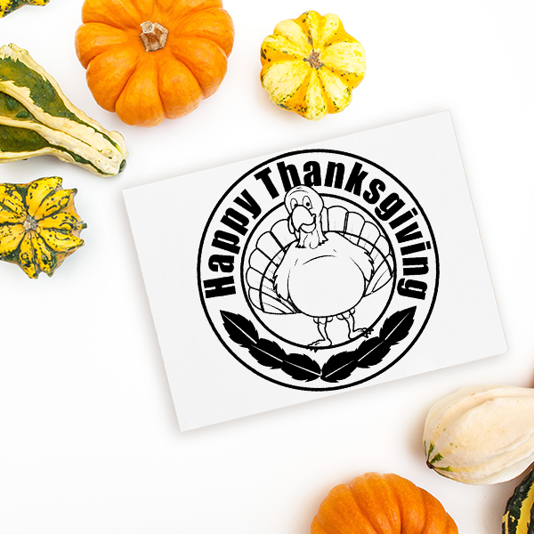 Happy Thanksgiving Gobbler Craft Stamp Imprint Example
