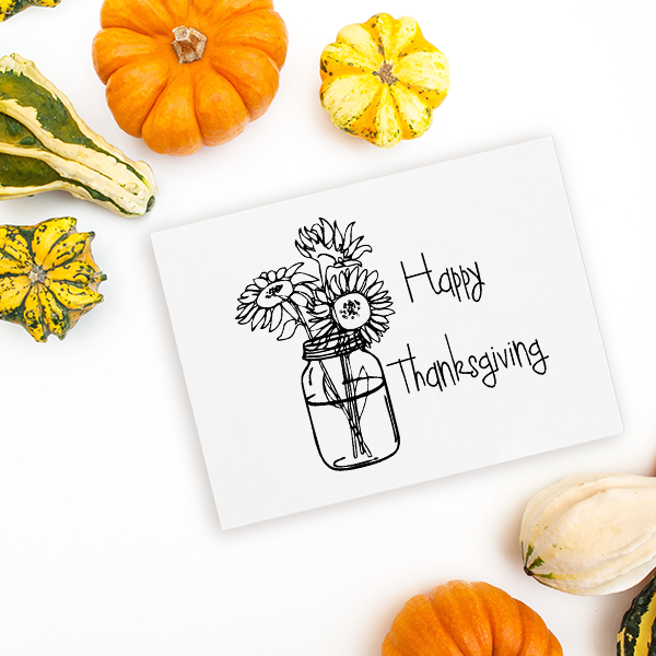 Happy Thanksgiving Sunflowers Craft Stamp Imprint Example