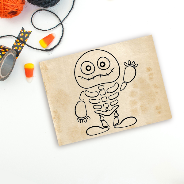 Cute Skeleton Mummy Craft Stamp Imprint Example