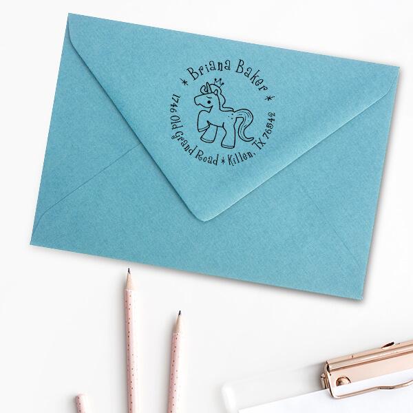 Unicorn Princess Return Address Stamp Imprint Example