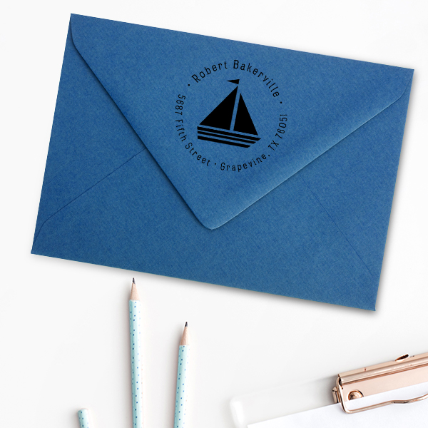 Sailboat Return Address Stamp Imprint Example