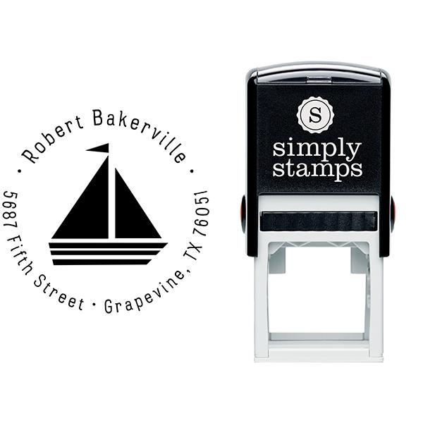 Sailboat Return Address Stamp Body and Design