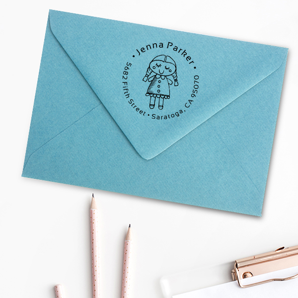 Girl Baby Doll Return Address Stamp Imprint Example