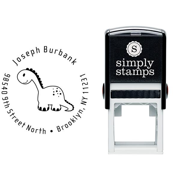 Stuffed Dinosaur Return Address Stamp Body and Design