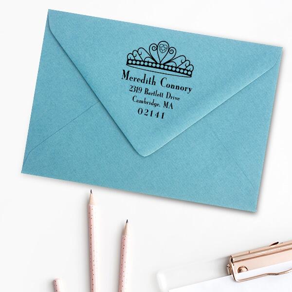 Princess Crown Return Address Stamp Imprint Example