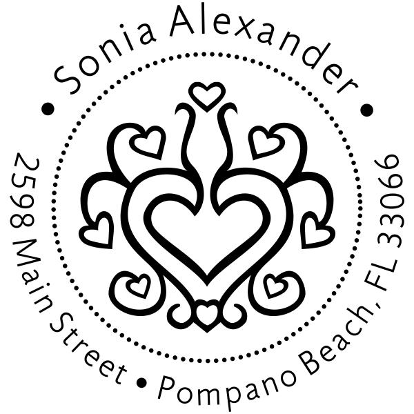 Hearts Galore Return Address Stamp