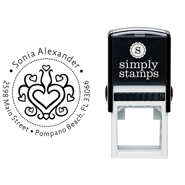 Hearts Galore Return Address Stamp Body and Design