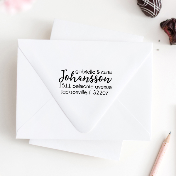 Johansson Script Address Stamp Imprint Example