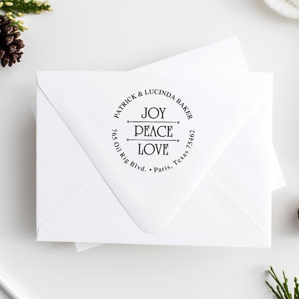Joy Peace Love Return Address Stamp Imprint Example