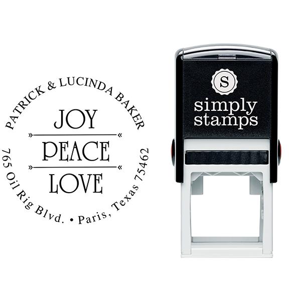 Joy Peace Love Return Address Stamp Body and Design