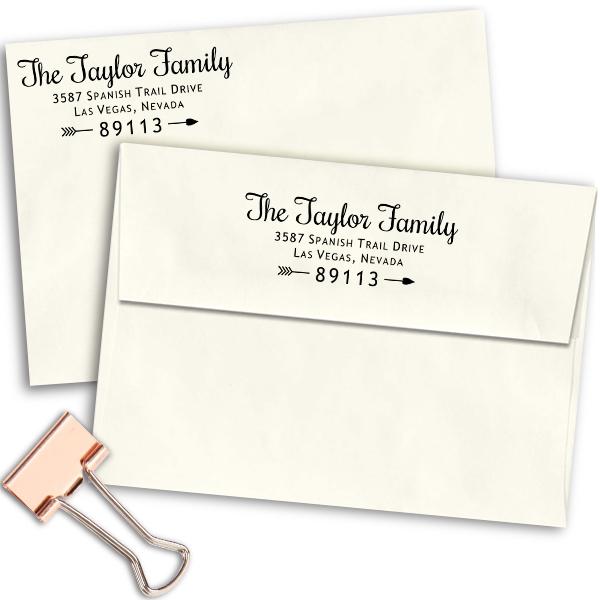 Taylor Family Love Return Address Stamp Imprint Example