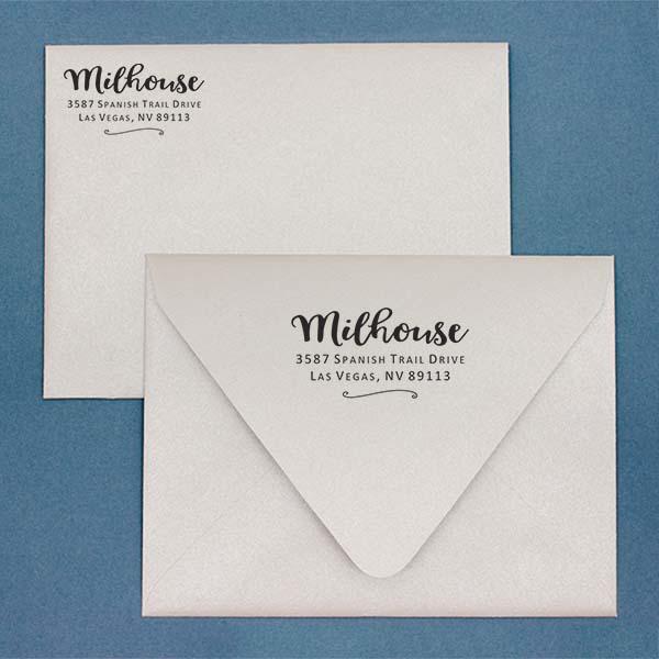 Milhouse Script Return Address Stamp Imprint Example