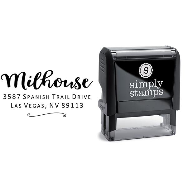 Milhouse Script Return Address Stamp Body and Design