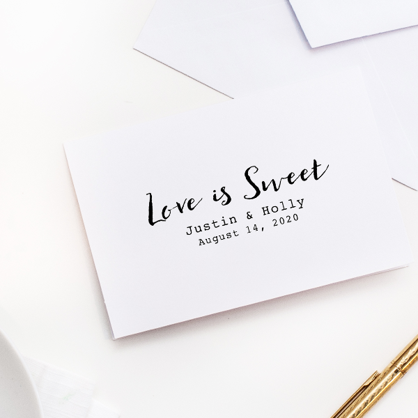 Love is Sweet Wedding Couple Rubber Stamp Imprint Example