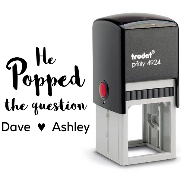He Popped the Question Rubber Stamp Body and Design
