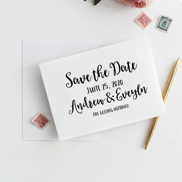 Save the Date Announcement Rubber Stamp Imprint Example