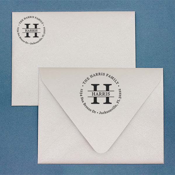 Round Letter Address Stamp Imprint Example on Paper