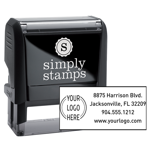 Double Ring Rectangle Logo Stamp