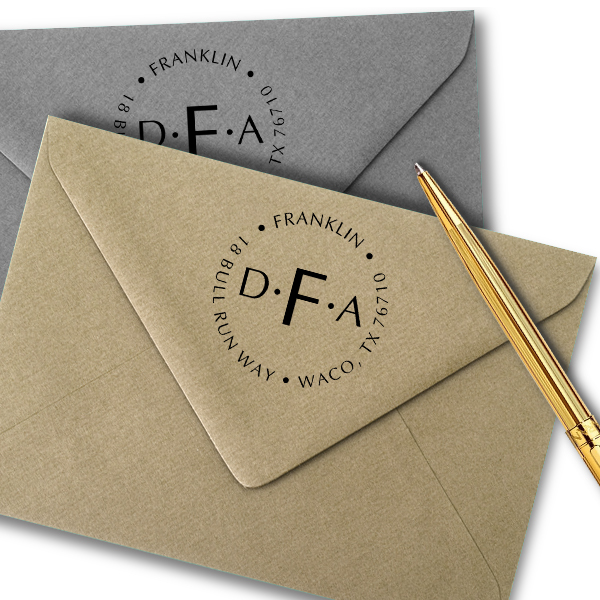 Franklin Monogram Round Address Stamp Imprint Example