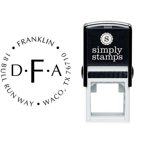 Franklin Monogram Round Address Stamp Body and Design