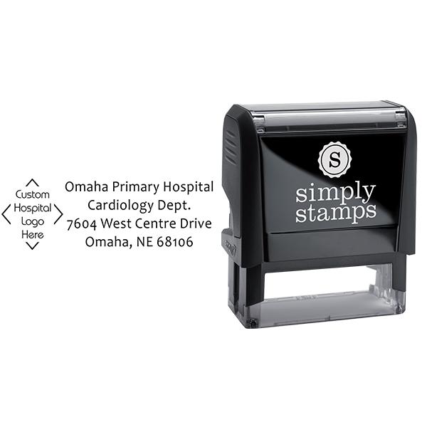 Custom Logo Hospital Address Stamp Body and Design