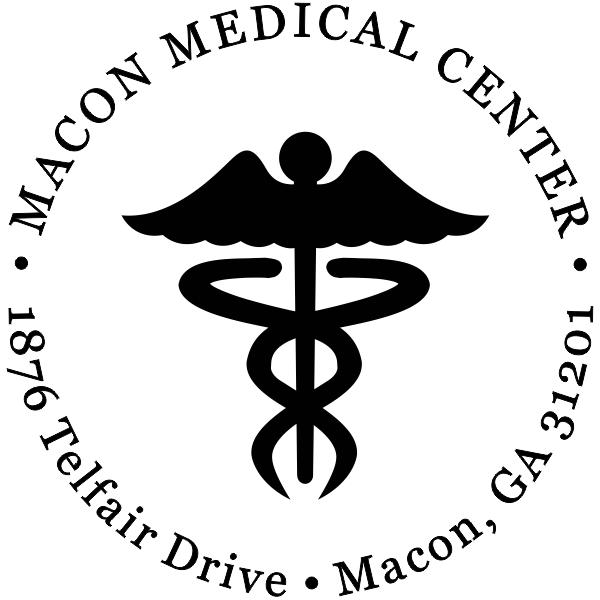 Round Caduceus Medical Address Stamp