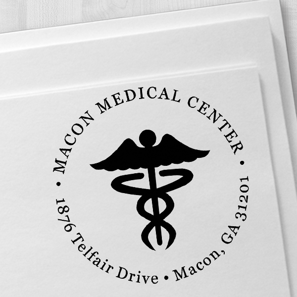 Round Caduceus Medical Address Stamp Imprint Example