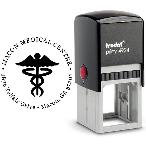 Round Caduceus Medical Address Stamp Body and Design