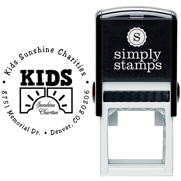 Charity Custom Logo Round Address Stamp Body and Design