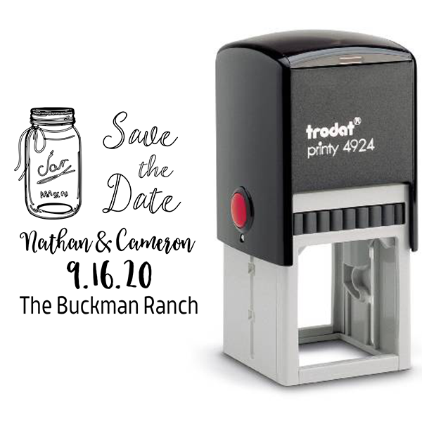 Custom Mason Jar Save the Date Rubber Stamp Body and Design