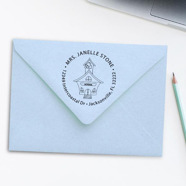 School House Round Teacher Rubber Stamp Imprint Example