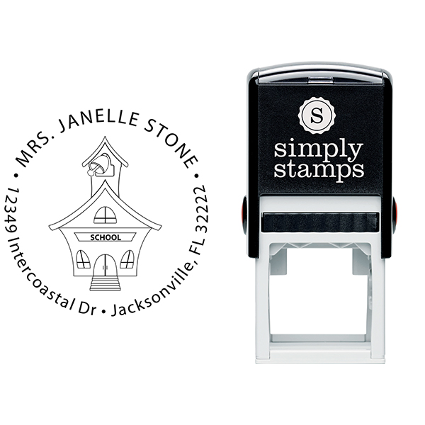 School House Round Teacher Rubber Stamp Body and Design