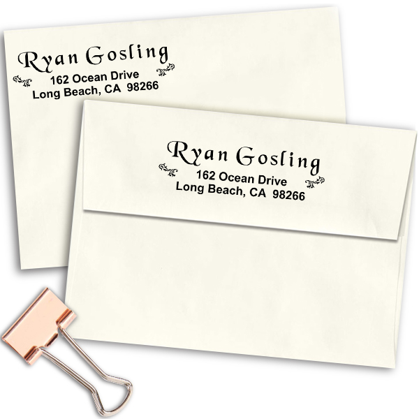 Twin Vintage Floral Design Custom Address Stamp Imprint Example