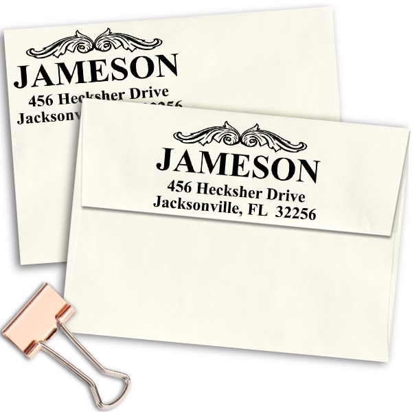 Vintage Crown Molding Custom Address Stamp Imprint Example