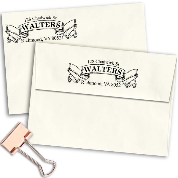 Traditional Vintage Banner Return Address Stamp Imprint Example