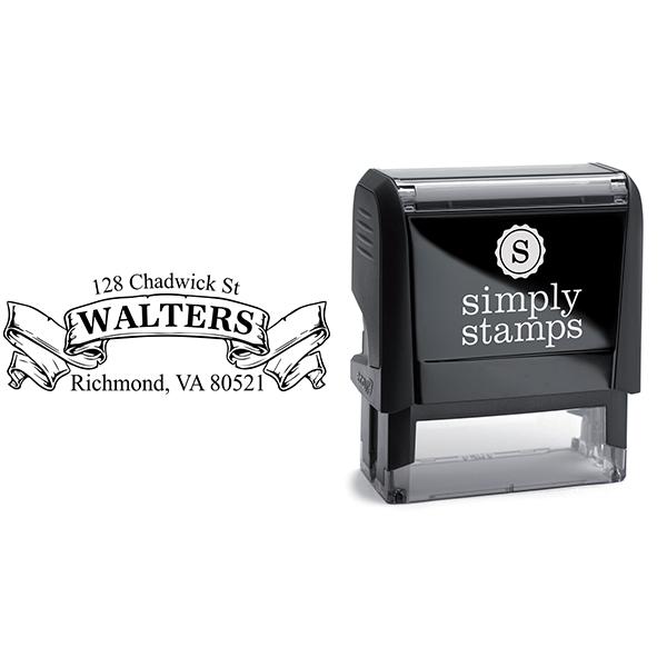 Traditional Vintage Banner Return Address Stamp Body and Design