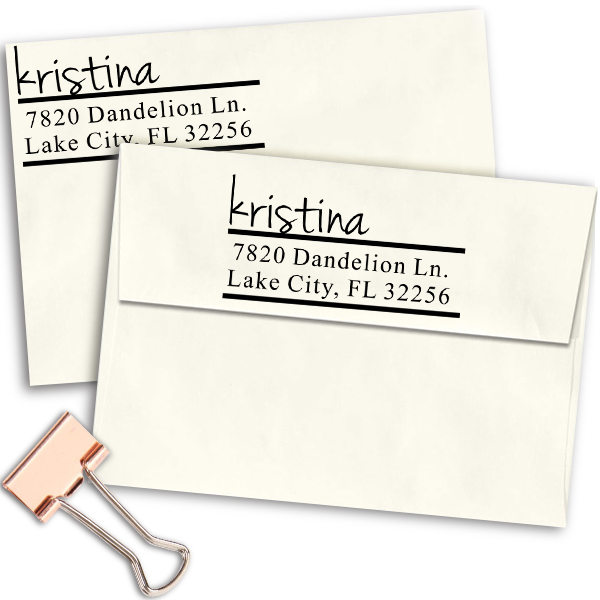 Handwritten Name Return Address Stamp Imprint Example