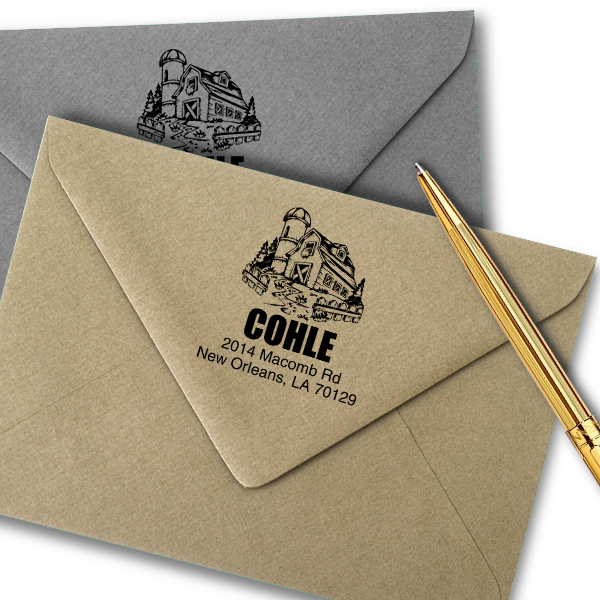 Southern Barn House Return Address Stamp Imprint Example
