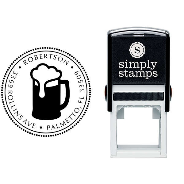 Frosty Beer Round Address Stamp - Self-Inking Body and Design