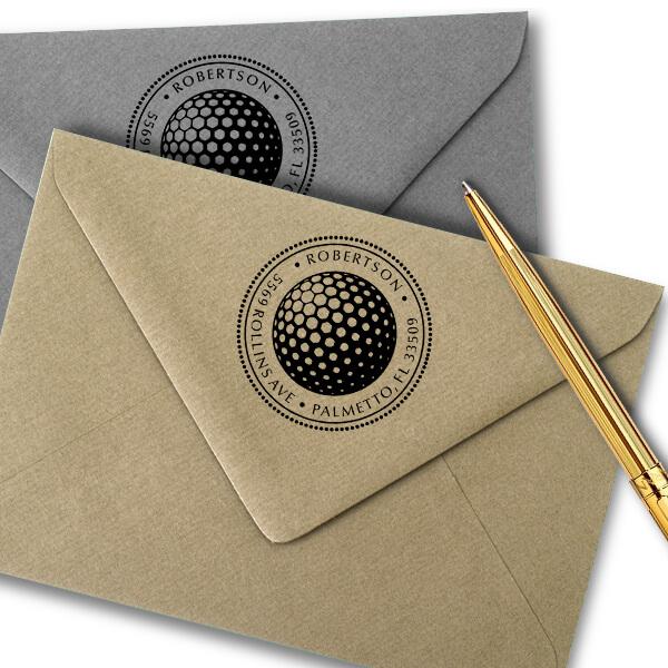 Golf Ball Round Address Stamp - Self-Inking Imprint Example